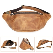 Mens Light Brown Vintage Leather Small Belt Bag Waist Belt Fanny Pack Sports
