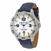 Nautica White Dial Blue Resin-coated Leather Strap Mens Watch N12566G